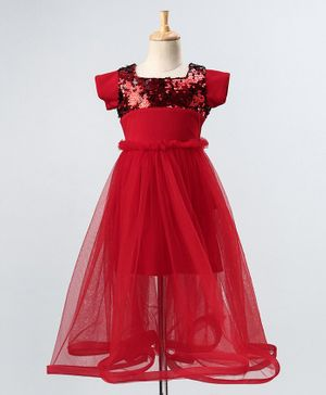 PinkCow Short Sleeves Sequin Yoke Gown - Red