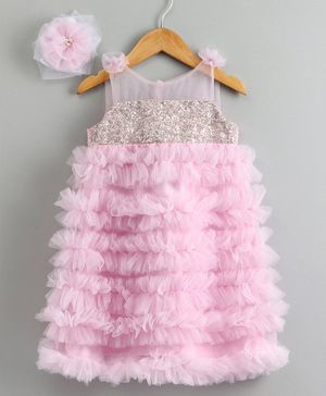 PinkCow Sleeveless Sequin Detailed Ruffled Dress With Hair Clip - Pink