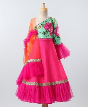 PinkCow Full Sleeves One Shoulder Floral Print Choli With Lehenga & Dupatta - Green Pink