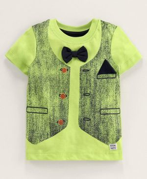 Babyoye Cotton Half Sleeves Mock Jacket T-Shirt Bow Applique - Green