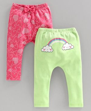 Babyoye Cotton Full Length Diaper Leggings Rainbow Print - Green Pink