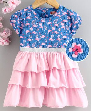 Babyhug Short Sleeves Layered Frock Flamingo Print - Blue Pink