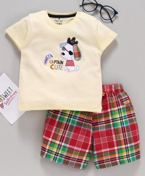 Brats & Dolls Half Sleeves Tee & Shorts Dog Patch - Light Yellow Red