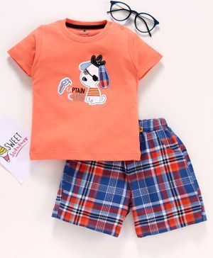 Brats & Dolls Half Sleeves Tee & Shorts Dog Patch - Orange Blue