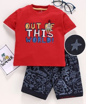 Brats & Dolls Half Sleeves Tee & Shorts Text Print - Red Navy
