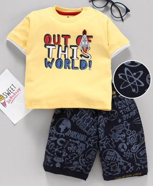 Brats & Dolls Half Sleeves Tee & Shorts Text Print - Yellow Navy
