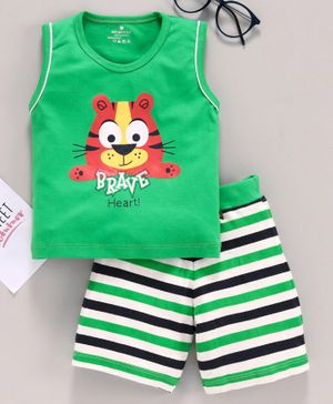 Brats & Dolls Sleeveless Tee & Shorts Lion Print - Green