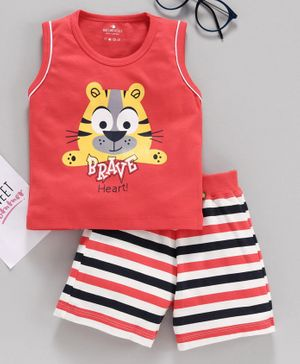 Brats & Dolls Sleeveless Tee & Shorts Lion Print - Red