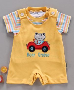 Child World Dungaree Style Romper with Half Sleeves Inner Tee Bear Patch - Yellow