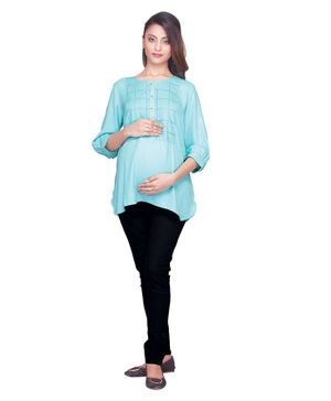 Kriti Three Fourth Sleeves Embroidered Maternity Top - Sea Green