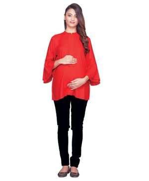 Kriti Top Three Fourth Sleeves Cotton Maternity Top - Red