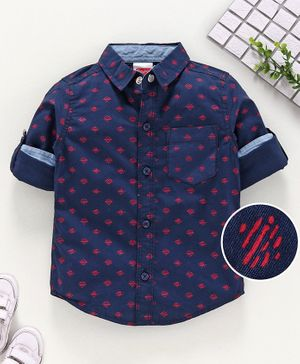 Babyhug Full Sleeves Printed Shirt - Navy
