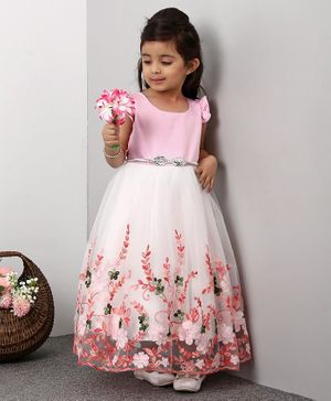 Mark & Mia Flutter Sleeves Frock Floral Embroidered - Pink