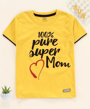 Little Darlings Half Sleeves Tee Text Print - Yellow