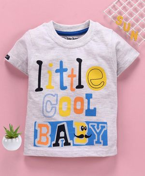 Little Darlings Half Sleeves Tee Text Print - Grey