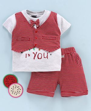 Mini Taurus Half Sleeves Tee with Attached Waistcoat and Stripe Shorts Bow Applique - White Red