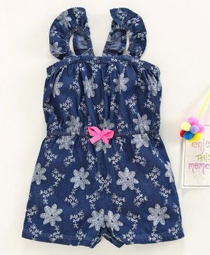 Babyhug Singlet Sleeves Denim Jumpsuit Floral Print - Blue