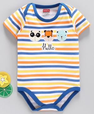 Babyhug Half Sleeves Onesie Animal Patch- Yellow Blue