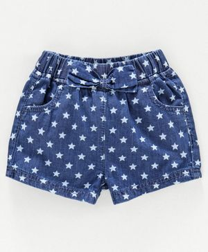 Babyoye Mid Thigh Length Denim Shorts Star Print - Blue