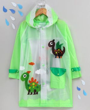 Full Sleeves Raincoat with Pouch Animal Print - Green