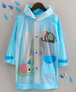 Full Sleeves Hooded Raincoat Elephant Print - Blue
