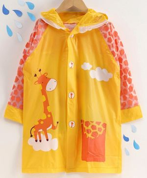 Full Sleeves Hooded Raincoat with Pouch Giraffe Print - Yellow
