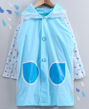 Full Sleeves Hooded Raincoat with Pouch Dot Print - Blue White