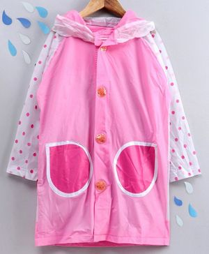 Full Sleeves Hooded Raincoat with Pouch Dot Print - Pink White