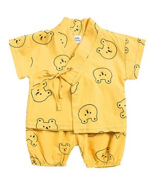 Awabox Teddy Print Short Sleeves Night Suit - Yellow