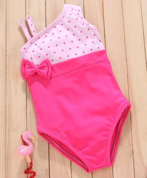 Mom's Love Sleeveless Polka Dotted V Cut Swimsuit - Pink