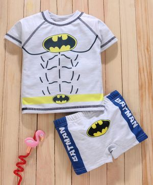 Mom's Love Half Sleeves Two Piece Swimsuit Batman Print - Grey