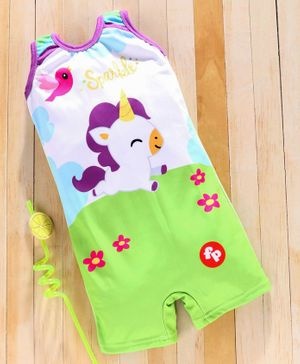 Mom's Love Sleeveless Legged Swimsuit Unicorn Print - Green