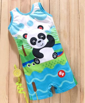 Mom's Love Sleeveless Legged Swinsuit Panda Print - Blue
