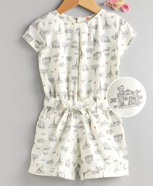 Dew Drops Half Sleeves Jumpsuit Eiffel Tower Print - Beige