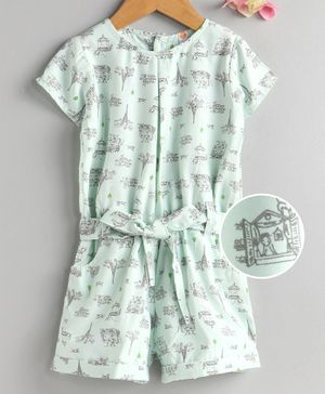 Dew Drops Half Sleeves Jumpsuit Eiffel Tower Print - Blue