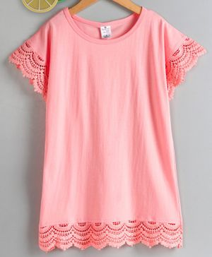 Smarty Short Sleeves Top Lace Detailing - Peach
