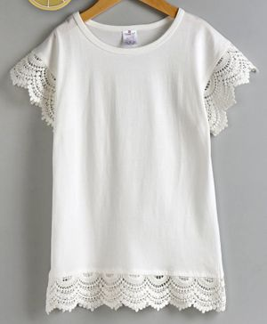 Smarty Short Sleeves Top Lace Detailing - Off White