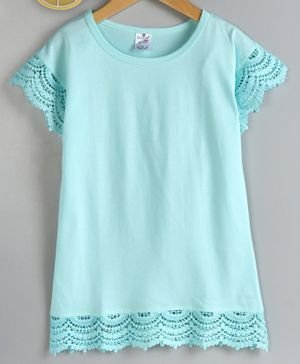 Smarty Short Sleeves Top Lace Detailing - Aqua Blue