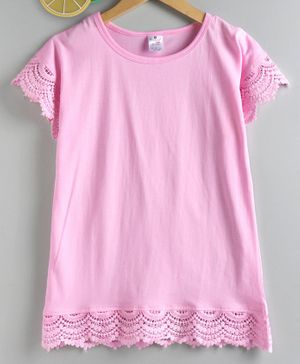 Smarty Short Sleeves Top Lace Detailing - Pink