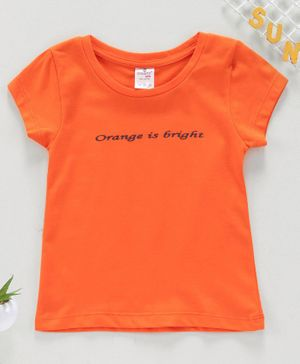 Smarty Short Sleeves Top Text Print - Orange