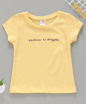 Smarty Short Sleeves Top Text Print - Yellow