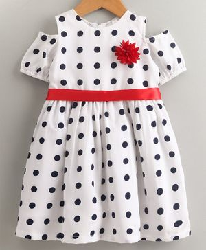 Stylo Bug Polka Dot Printed Cold Shoulder Half Sleeves Dress - Off White