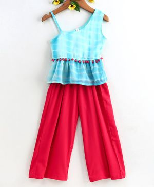 Stylo Bug Sleeveless Tie & Dye Top With Palazzo Pants - Blue & Pink