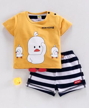 Wow Half Sleeves Tee with Striped Shorts Duck Print - Mustard White