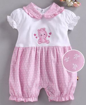 Wow Short Sleeves Romper Tiger Embroidered - Pink