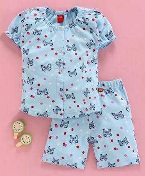 Wow Half Sleeves Night Suit Butterfly Print - Light Blue