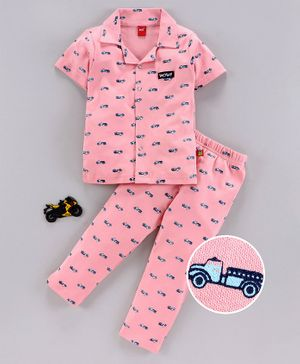 Wow Clothes Half Sleeves Night Suit Vehicle Print - Peach