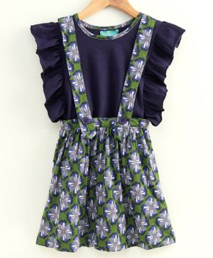 Tiara Ruffle Sleeveless Top & Printed Pinafore Skirt - Blue