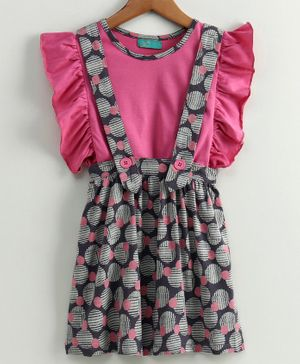 Tiara Ruffle Sleeveless Top & Circle Print Pinafore Skirt - Pink