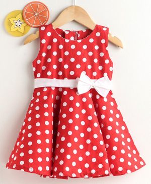 Rassha Polka Dot Print Sleeveless Dress - Red